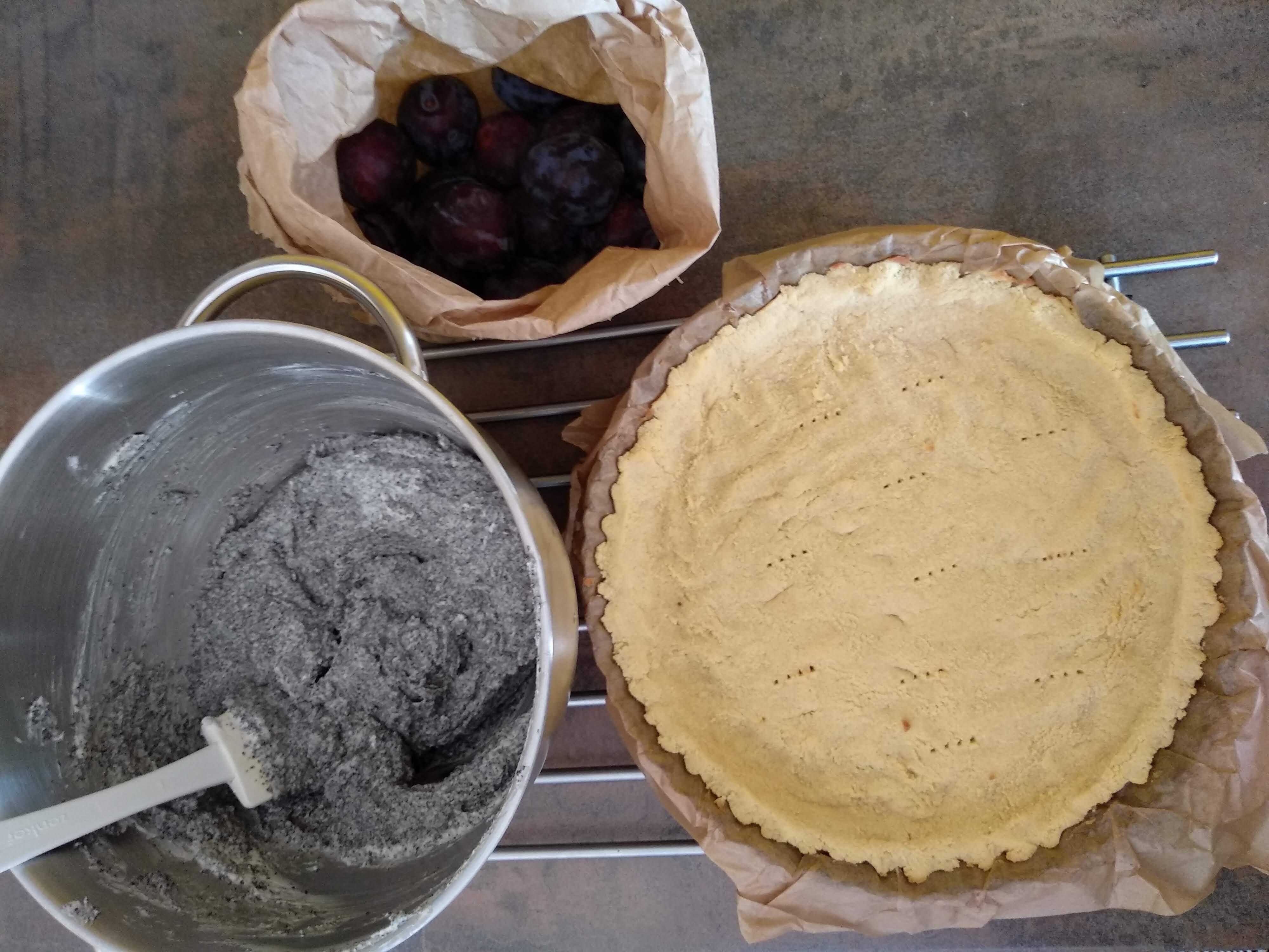 Kokosový bezlepkový korpus, maková náplň a švestky